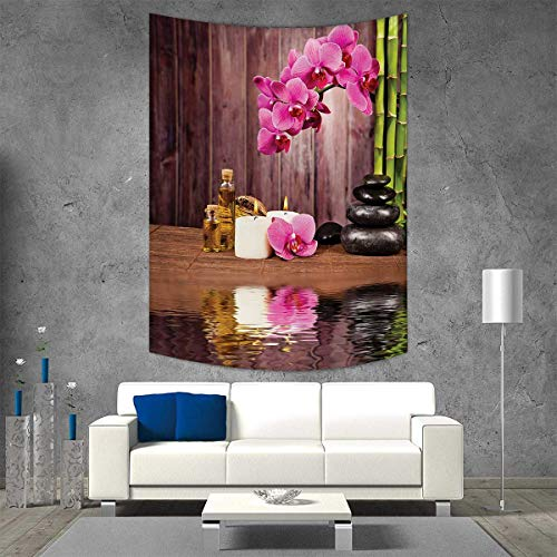 Geisha Flower Candle - smallbeefly Spa Tapestry Table Cover Bedspread Beach Towel Spa Flower Water Reflection Aromatherapy Bamboo Blossom Candlelight Print Dorm Decor Beach Blanket 54W x 72L INCH Pink Green Umber