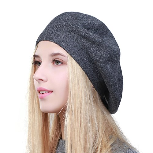 GEEBRO Hat Fashion Solid Color Warm Wool Spring Berets Women French Artist Beanie Beret Hat for Women DQ106 (Darkgray)