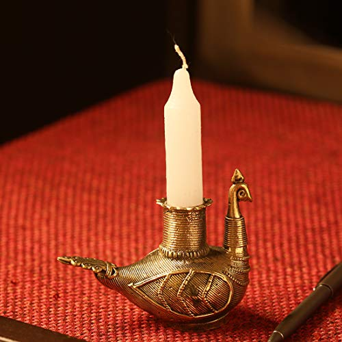 ExclusiveLane 'Glowing Peacock'Handmade Brass Candle Holder in Dhokra Art- Votive Candle Holders for Fireplace Table Top Dining Antique Gift Item Home Decoration for Living Room Decorative - Antique Votives Brass