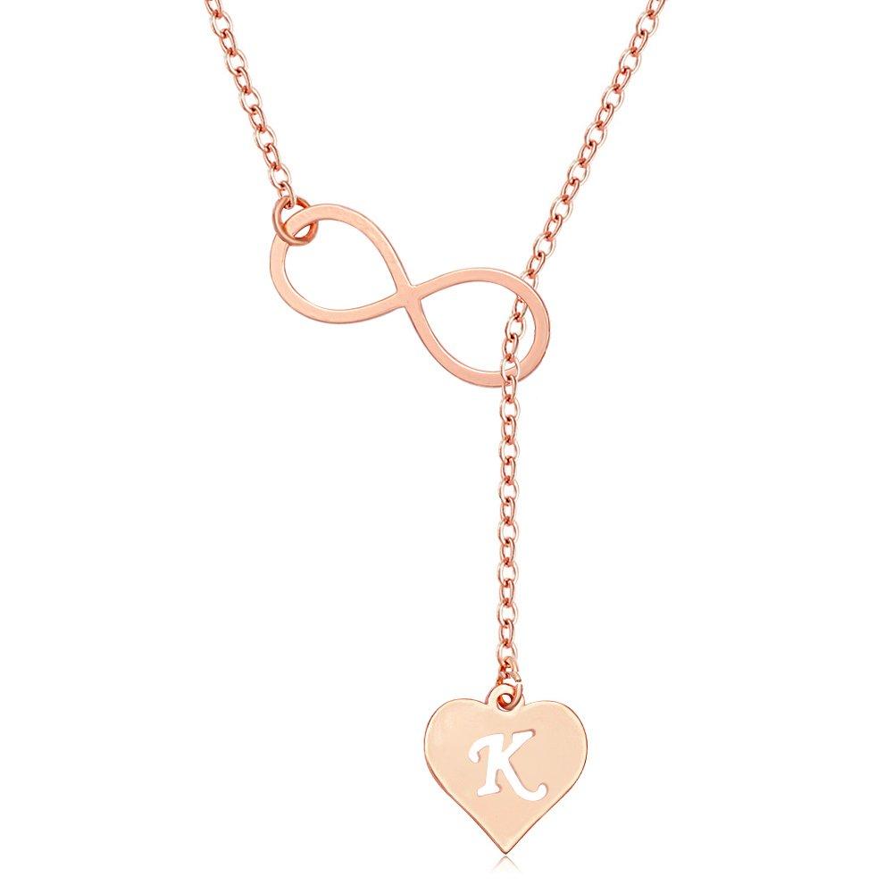 MANZHEN Rose Gold Endless Infinity Love Heart Initial Alphabet Lariat Y Necklace (K) by MANZHEN