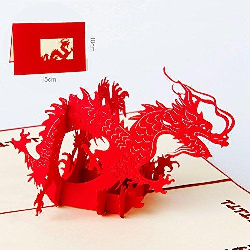 Paper Spiritz Premuim Pop-up Greeting Card with Envelope 3D Dragon Origami Paper Craft for Anniversary Wedding Birthday Gift Handmade (Halloween Wedding Greeting Cards)