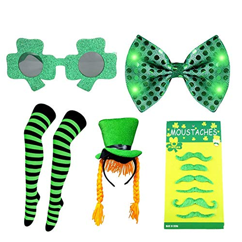 Party DIY Decorations - 2019 Happy St Patrick 39 S Day Funny Green Glasses Tie Silk Stockings Necktie Set Accessoires - Decorations Party Party Decorations Patrick Fashion Miami Clover I