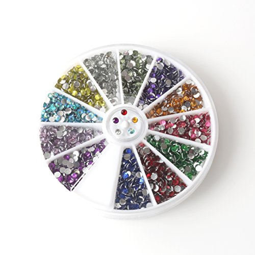 Nail Art Decorations Nail Stone Rhinestones 12 Colors with 12 Pack Small Container Pots, 6000 Pieces