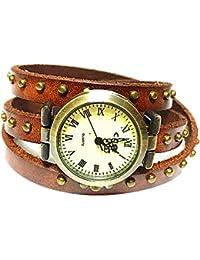 "Women Watches Genuine Bronze Rivet Leather Double Wrap Wrist Watch 3 Circle Wrap Watch Brown (15.95"" Length)"