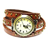 MINILUJIA Women Watches Genuine Bronze Rivet Leather Double Wrap Wrist Watch 3 Circle Wrap Watch Brown (15.95'' Length)