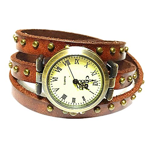 MINILUJIA Women Watches Genuine Bronze Rivet Leather Double Wrap Wrist Watch 3 Circle Wrap Watch Brown (15.95