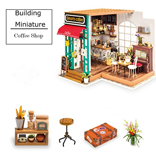 Miniature Christmas Houses - Wooden Dollhouse Miniature - DIY Coffee Shop Toy Furniture Included - Wooden Kit to Build - Christmas Birthday Gift for Daughter or Girlfriend