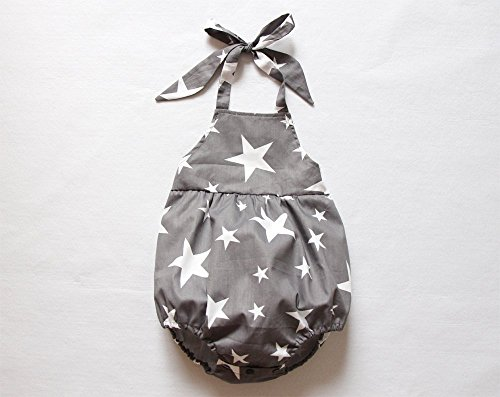 Gray Star Baby Boy Romper Star Bubble Halter Romper