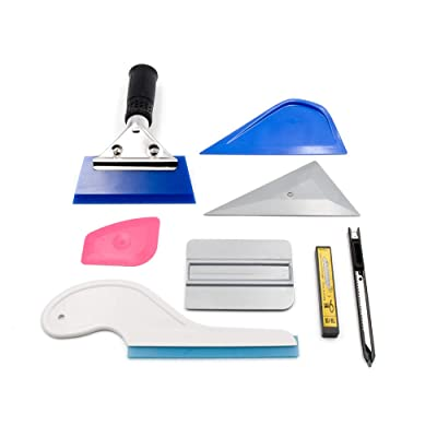 YUNPENG 8 PCS Car Window Tint Tools Vehicle Window Glass Protective Film Tint Applicator with Handle Squeegee, Mini Scraper, Sharp Head Squeegee, Retractable Utility Knife & Blades: Automotive