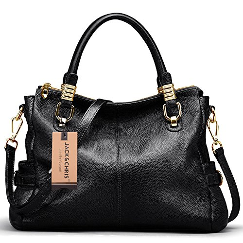 Jack&Chris® Women Vintage Leather Shoulder Handbags Top-handle Tote, SF0951(Black)