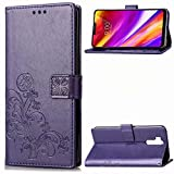 LG G7/G7 ThinQ Beautiful Case, Fashion Four-Leaf Clover Printing Premium PU Leather Wallet Case with Wrist Strap Flip Case Cover for LG G7/G7 ThinQ Stylus Pen (Purple, LG G7/G7 ThinQ)