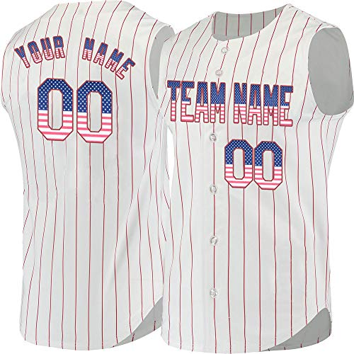 Pinstripe Men's Custom Baseball Jersey Sleeveless Embroidered Name,USA Flag-Red Size L
