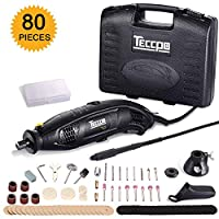 Rotary Tool TECCPO 1.5A Electric Motor 8,000-35,000RMP Variable Speed, 80pcs Accessories with Flex Shaft, Universal 3-jaw Chuck for Family Projects and Precise Work TART04P