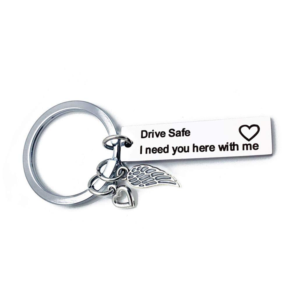 Jinzuke Lettere incise Drive Safe Personalizzato Portachiavi dellautomobile dellAcciaio Inossidabile Portachiavi Marito Boyfriend Regalo Portachiavi