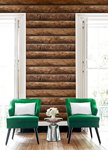 Cabin Red Log (Rustic Stacked Log Cabin Wallpaper (Brown))