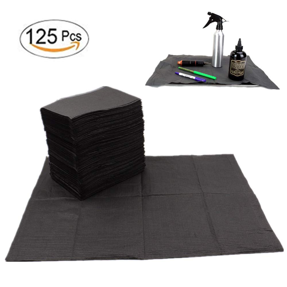 """Dental Bibs - Yuelong 125 Pcs Black Disposable Waterproof Tattoo Bibs Tattoo Table Covers Clean Pad Patient Bibs Dental Napkins Tattoo Tray Covers Tattoo Supplies, 2-Ply Tissue+Poly, 13"""" x 18"""" inch"""