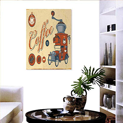 familytaste Retro Wall Paintings Artsy Commercial Design of Vintage Truck with Coffee Grinder Old Fashioned Print On Canvas for Wall Decor 16