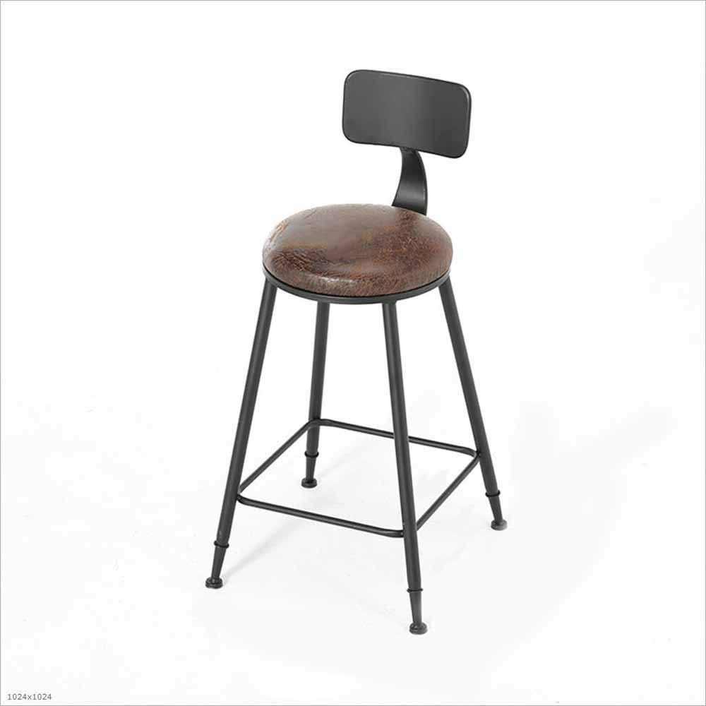 B 65CM Forged Iron high Chair with backrest bar Stool,B,45CM