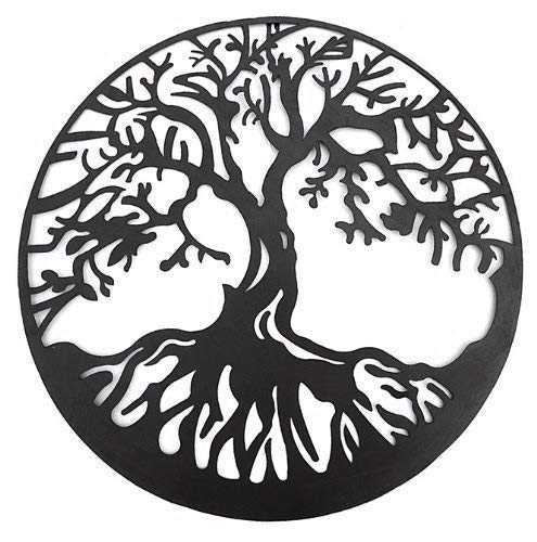 Bellaa 20230 Tree of Life Metal Wall Art Hanging Garden Sculptures 24 inch (Wall Hanging Tree Metal)
