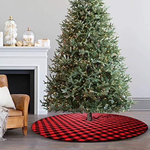 yuboo Buffalo Plaid& Burlap Reversible Christmas Tree Skirt,50