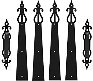 CCJH Decorative Garage Door Hardware Carriage House Hinges Handles Accents Screws Mounted 6PCS