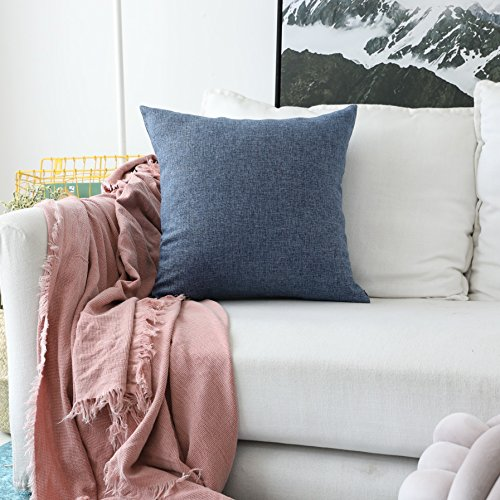 HOME BRILLIANT Indigo Linen Decorative Pillow Covers Lined Cushion Cover for Couch, 20x20 Inch(50x50cm), Navy Blue
