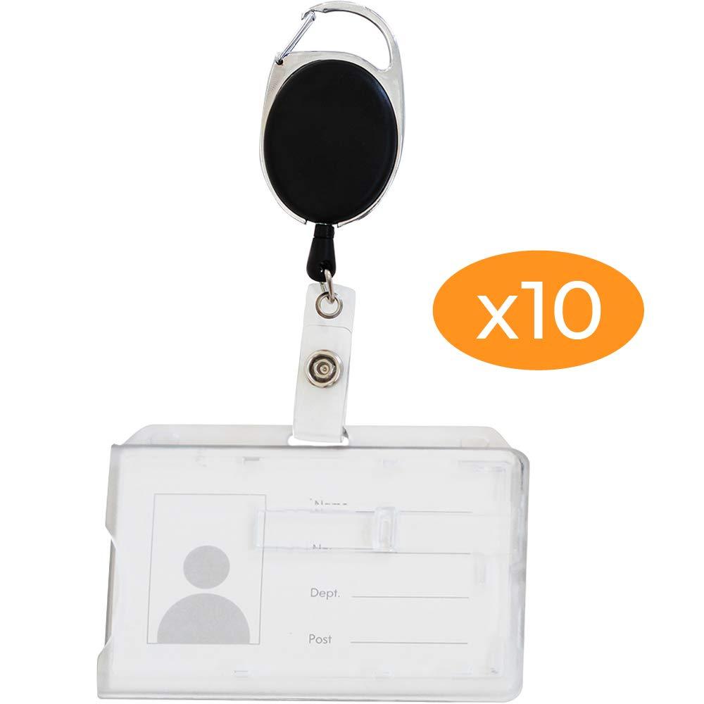 Porta badge di sicurezza per 2 carte formato 54 x 86 mm cassa rigida chiuso trasparente con o senza porta badge 10 con clip