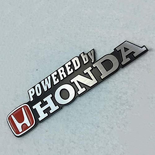 US85 Auto Powered by Honda Aluminium Metal Car 3D Badge Emblem Brushed Alloy Logo Decal Sticker