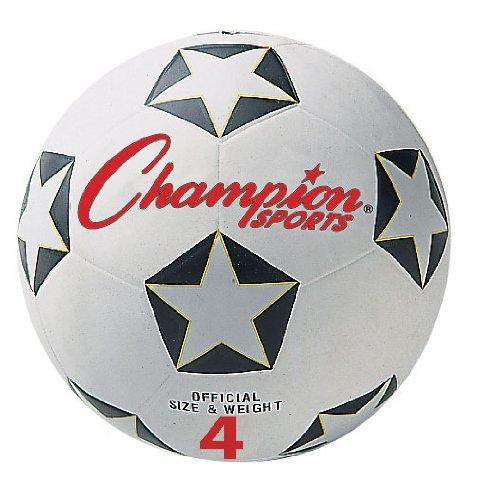 Champion Sports SRB4 Rubber Sports Ball, For Soccer, No. 4, White/Black (CSISRB4)