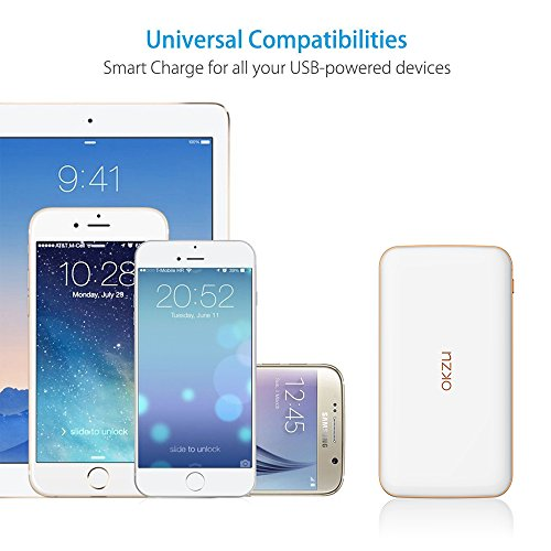 strength Bank OKZU 10000mAh Thin light handheld Charger compressed External Battery Pack by using USB Type C enter productiveness for iPhone Samsung Huawei and even more units White External Battery Packs