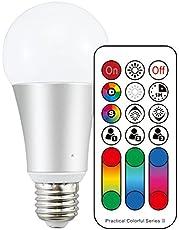 LightAurora 10W E27 Ampoule LED couleur avec télécommande, 120 choix de couleurs Ampoule à vis Multicolore, double mémoire et commande de commutateur mural, RGB + Blanc --- 4ème génération(Lot de 1)