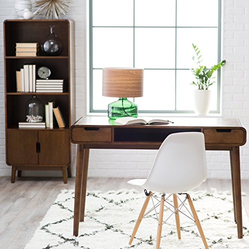 Brown Vintage Wood Writing Desk | Perfect Stylish Mid Century Home Office or College Student Dorm Table for Your Computer, PC, Laptop, Monitor, Books and Supplies by Gramercy Home (Image #1)
