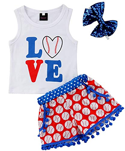 Toddler Baby Girls Shorts Outfits Love Baseball Print Vest T-Shirt Tops Tassel Pants Summer Clothes Set (4 Year Old, Red White Blue Clothing Set)