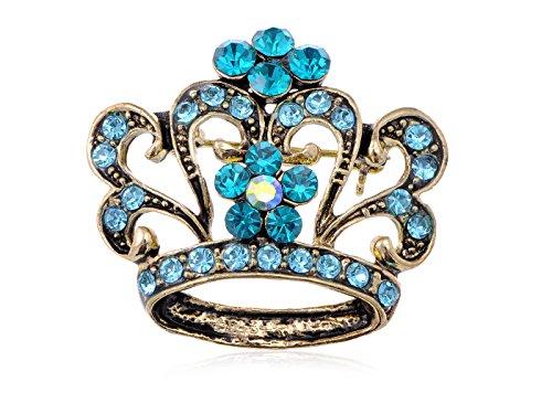 Alilang King Queen Sapphire Royal Aqua Blue Crystal Rhinestone Crown Brooch Pin