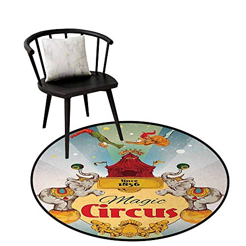 Price comparison product image Soft Round Rug Circus Decor Will not Touch The Floor Directly Magic Circus Tent Show Announcement Vintage Style Aerialist Acrobat Multicolor D47(120cm)