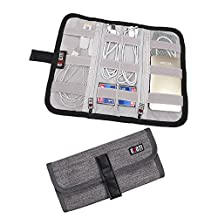 BUBM Portable Universal Wrap Electronics Travel Organizer / Cable Stable/ Electronics Accessories Carry Case,Grey