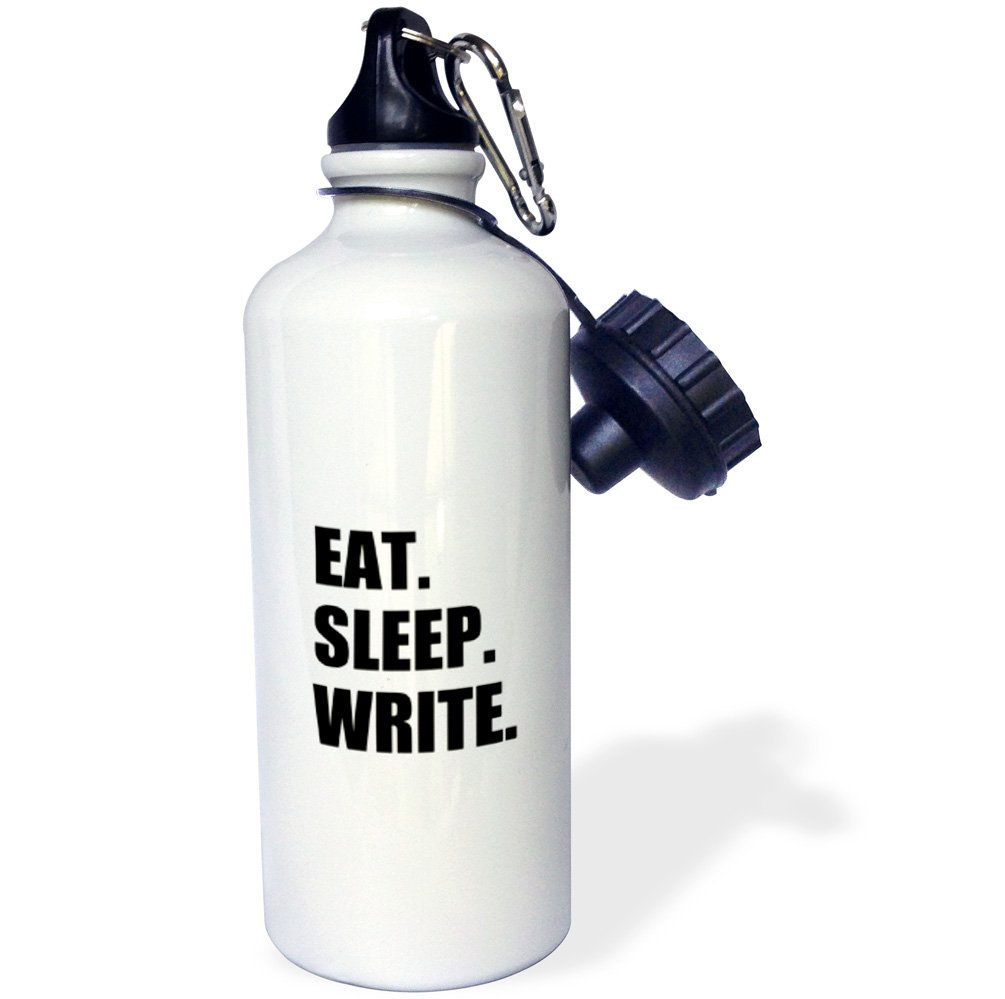 3dRose wb_180460_1' Eat Sleep Yoga-Black Text-Fun Funny Humorous Instructor' Sports Water Bottle 21 oz Multicolor