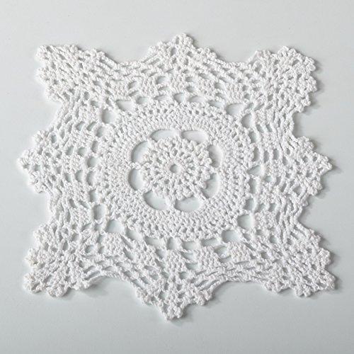 - Fennco Styles Handmade Crochet Traycloth Cotton Doilies (6-inch Square Set of 4, White)