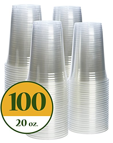 20 oz. Crystal Clear PET Plastic Cups [100 (Clear Plastic Cold Cups)