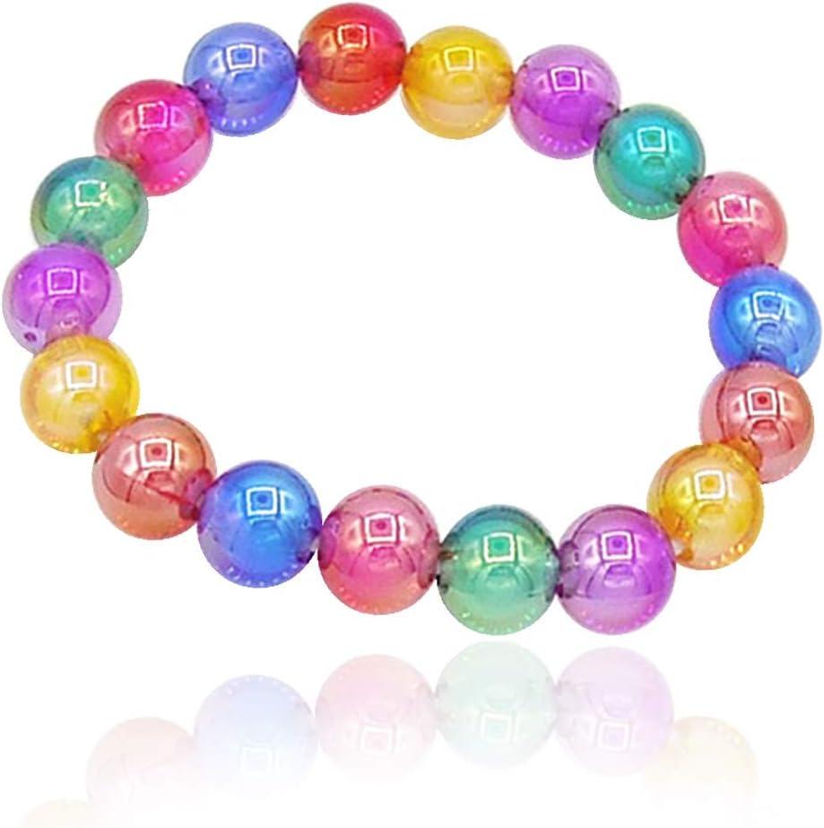 113-702 - Pulsera elástica para niña de 5 cm de diámetro con perlas multicolores