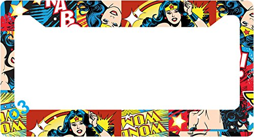 (Wonder Woman Collage Lasso Comic Auto Car Frame Collage License Plate Frame Aluminum (A))