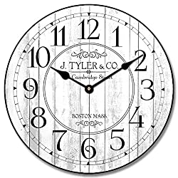 Harbor White Wall Clock, Available in 8 Sizes, Most Sizes Ship 2-3 Days, Whisper Quiet.