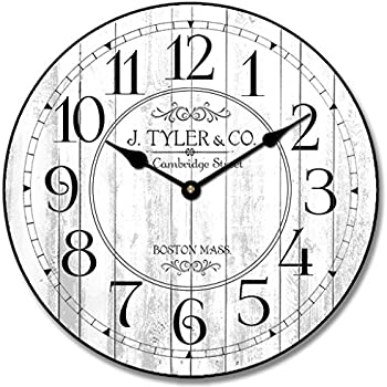 Harbor White Wall Clock, Available in 8 Sizes, Most Sizes Ship 2-3 Days,  Whisper Quiet