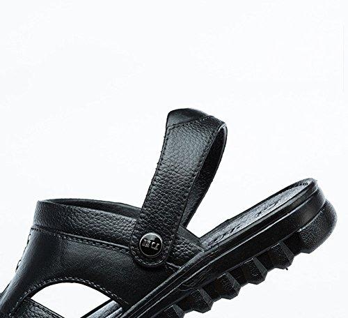 Piatto Pelle Sandali Scarpe Spiaggia Uomo Pantofole PU Nero Morbido p1Fw0pvqnA