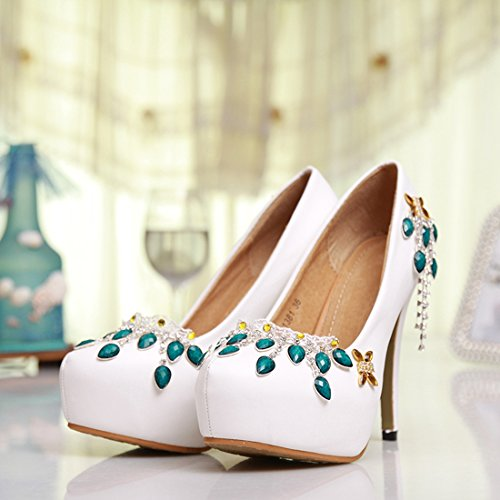 Minitoo Evening Prom Round Sexy Satin Women's Shoes Toe Wedding Party MZLL028 Pumps White Handmade F6gF4Bq