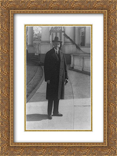 President Coolidge snapped as he left the White House today 18x24 Double Matted Gold Ornate Framed Art - Galleria Open Today