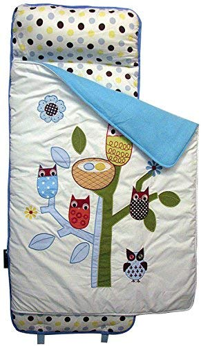 SoHo New Blue owl Tree nap mat for Toddler Preschool Day Care with Pillow Lightweight Rolled nap mats All Hand Embroidery