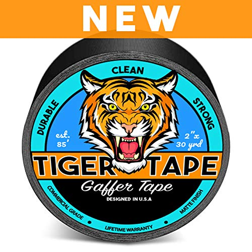 Gaffers Tape Gaff Tape 2 Inch x 30 Yards Electrical Black Tape - Pro Gaffer Tape Premium Heavy Duty Flexible Tape Waterproof by Tiger Tape
