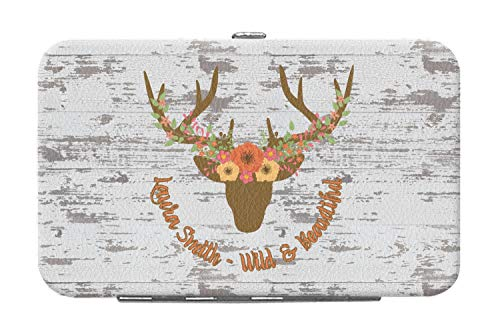 - Floral Antler Genuine Leather Small Framed Wallet (Personalized)