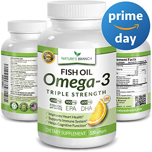 ★ Best Triple Strength Omega 3 Fish Oil Pills 2500mg Burpless HIGH Potency Lemon Flavor 900mg EPA 600mg DHA Pure Liquid Softgels 120 Capsules Brain Joints Eyes Hair Heart Health Supplement (Best Value Fish Oil)